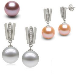 Boucles d'Oreilles Or 9k, diamants et Perles d'Eau Douce DOUCEHADAMA