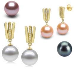 Boucles d'Oreilles Or 18k, diamants et Perles d'Eau Douce AAA