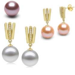 Boucles d'Oreilles Or 18k, diamants et Perles d'Eau Douce DOUCEHADAMA