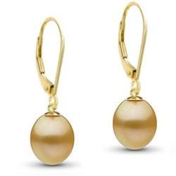 Boucles d'oreilles en Or 18k perles des Philippines Dorées Gouttes AAA