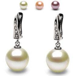 Boucles d'oreilles Dormeuses Or 14k avec diamants, perles d'eau douce DOUCEHADAMA