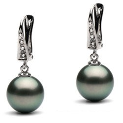Boucles d'Oreilles Or 14 carats Perles de Tahiti et diamants