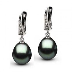 Boucles d'oreille or 14k et diamants, perles de Tahiti Goutte AAA