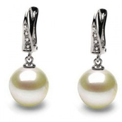 Boucles d'Oreilles Or 18k perles d'Akoya HANADAMA blanches et diamants