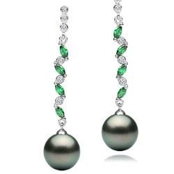 Boucles d'Oreilles Argent 925 zirconiums tourmalines vertes Perles de Tahiti