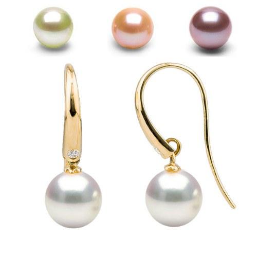 Boucles d'Oreilles Or 18k Diamants Perles d' Eau Douce DOUCEHADAMA