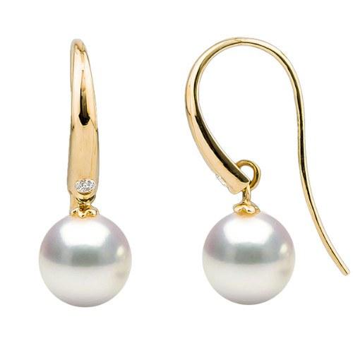 Boucles d'Oreilles Or 18k Diamants Perles d'Akoya qualité AAA
