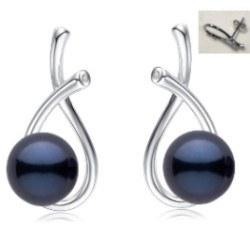Boucles d'Oreilles Argent 925, Zirconiums et Perles d'Akoya Noires