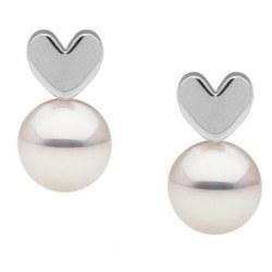 Boucles d'Oreilles Coeurs en Argent Perles d'Akoya blanches