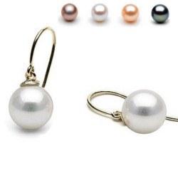 Boucles d'Oreilles Or 18k Perles d' Eau Douce AAA