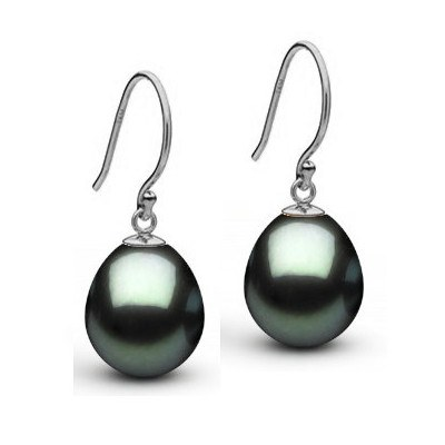 Boucles d'oreilles en or 14 carats perles de Tahiti Goutte AAA