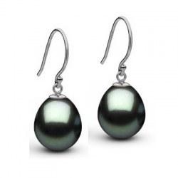 Boucles d'oreilles en or 18 carats perles de Tahiti Goutte AAA