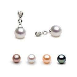 Boucles d'Oreilles en Or et Diamants avec Perles d'Eau Douce AAA