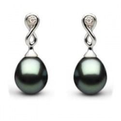 Boucles d'oreilles en or 14 carats, diamants perles de Tahiti Goutte AAA