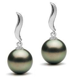 Boucles d'oreilles en Or 9k et perles de culture de Tahiti