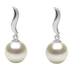 Boucles d'Oreilles Or 9k de Perles d'Akoya blanches