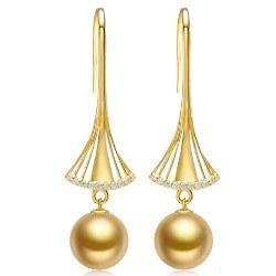 Boucles d'Oreilles Or 18k diamants perles des Philippines de 10-11 mm dorées AAA