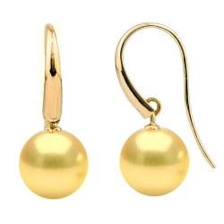 Dormeuses Or 18k et perles des Philippines dorées qualité AAA