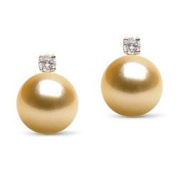 Boucles d'Oreilles Or 18k Diamants perles des Philippines Dorées AAA