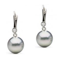 Boucles d'Oreilles Or 14k Diamants Perles d'Akoya bleues argentées AAA