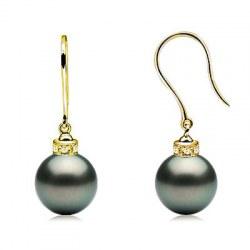 Boucles d'Oreilles Or 18k Diamants et Perles de Tahiti AAA