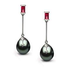 Boucles d'oreilles Argent 925 Rubis et Perles de Tahiti 10-11 mm Goutte AA+