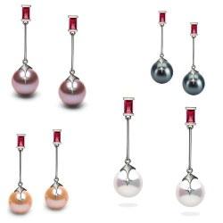 Boucles d'Oreilles Argent 925, Rubis et Perles d'Eau Douce 9-10 mm AAA