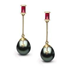 Boucles d'oreilles Or 9k Rubis et Perles de Tahiti 10-11 mm Goutte AA+