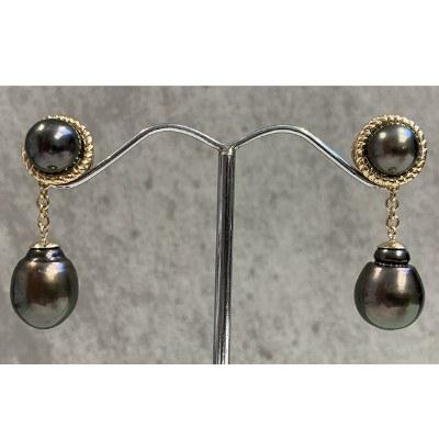 Boucles Or 18k avec 4 perles de Tahiti 8-9 mm AAA et 11-12 mm Baroques
