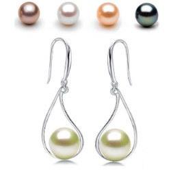 Boucles d'Oreilles en Argent 925 avec perles d'Eau Douce 8-9 mm AAA