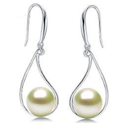 Boucles d'Oreilles Argent 925 de Perles d'Akoya blanches