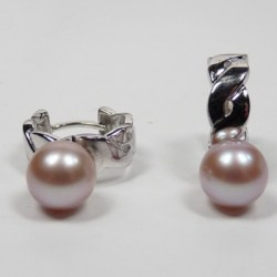 Boucles d'Oreilles anneaux en Argent 925 Perles Eau Douce 8-9 lavande AAA