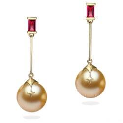 Boucles d'Oreilles en Or 9k rubis et perles dorées des Philippines 9-10 mm AAA