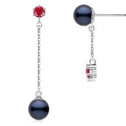Boucles d'Oreilles Or 9k Tourmalines rouges Perles d'Akoya Noires AAA