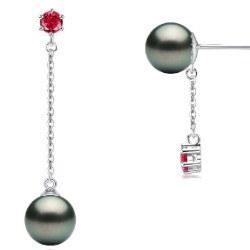 Boucles d'Oreilles Or 9k Tourmalines rouges Perles de Tahiti