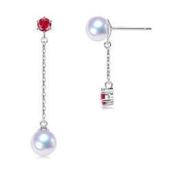 Boucles d'Oreilles Or 9k Tourmalines rouges Perles d'Akoya AAA