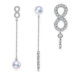 Boucles d'Oreilles Argent Zirconiums Perles d'Akoya qualité AAA
