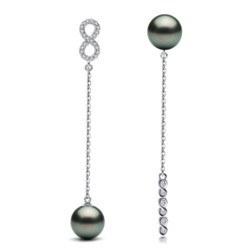 Boucles d'Oreilles Or Gris 18k Perles de Tahiti et diamants