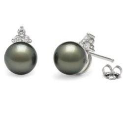 Boucles d'Oreilles en Or 18k perles noires de Tahiti AAA et diamants