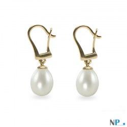 Boucles d'oreilles Dormeuses avec perles d'Eau Douce Goutte 9-10 mm