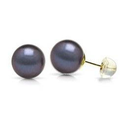 Boucles d'Oreilles Or 18k de perles d'eau douce noires 5 à 6 mm AAA