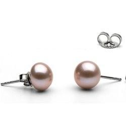 Paire de boucles d'Oreilles Or 14k perles d'eau douce Lavande 8 à 9 mm AA+ (bouton)