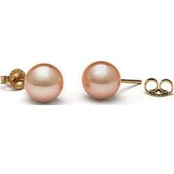 Paire de boucles d'Oreilles or 14k perles d'eau douce 10-11 mm Pêche AAA