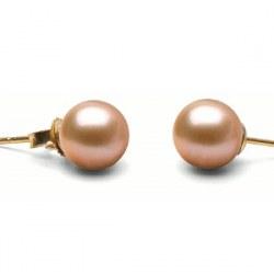 Boucles d'Oreilles de perles d'Eau Douce Pêches de 7 à 8 mm DOUCEHADAMA