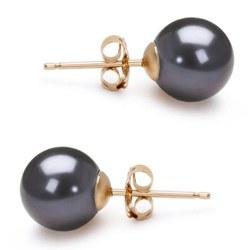 Paire de boucles d'Oreilles Or 14k perles d'eau douce noires 9 à 10 mm AAA