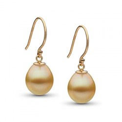 Boucles d'oreilles Or 18k avec perles gouttes dorées des Philippines AA+