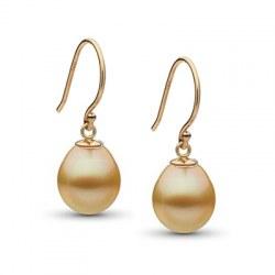 Boucles d'oreilles Or 14k avec perles gouttes dorées Philippines AA+