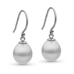 Boucles d'oreilles Or 14k avec Perles gouttes Blanches d'Australie 10-11 mm AA+/AAA