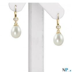 Boucles d'Oreilles Dormeuses Or 18k avec diamants, perles d'Eau Douce Goutte