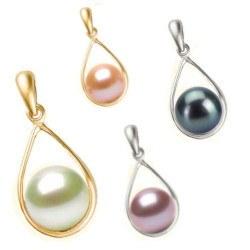 Pendentif en Or 18k et perle d'Eau Douce 7-8 mm AAA